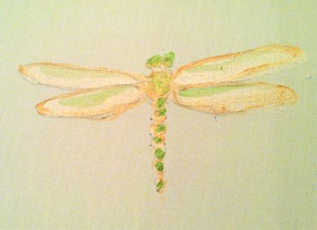 Artist Holly Alderman paints fragonflies on window shades and walls
