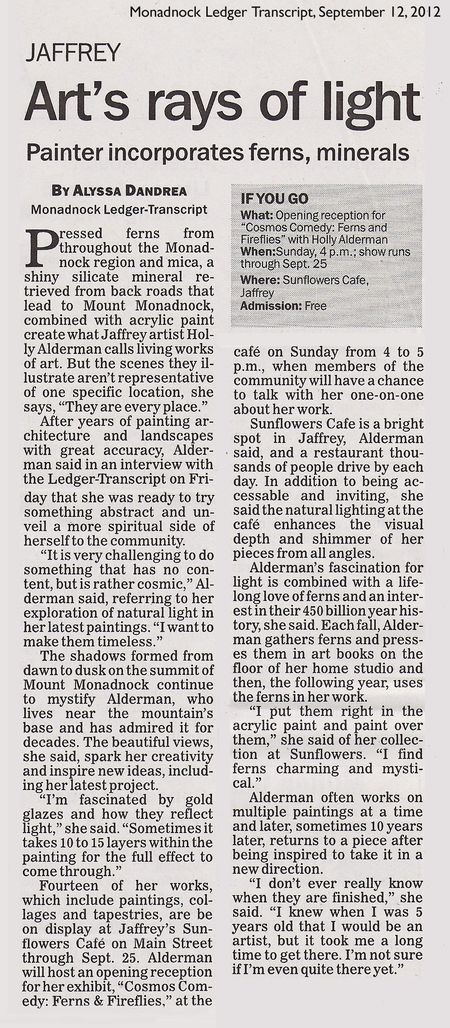 Art show in LEdger Transcript 9-12-2012