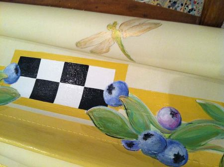 Artist Holly Alderman's hand painted window shades: custom blueberries, dragonflies, checkerboards and more