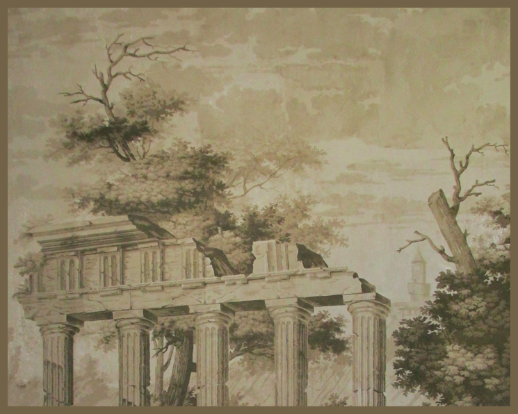 Antique wallpaper anew by Holly Alderman, sepia tone