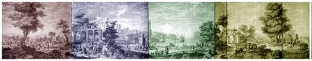Holly Alderman antique wallpaper scenes panorama customized anew for papers and fabrics