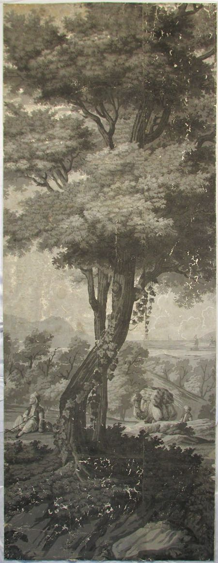 Holly Alderman, Dufour Grisaille Wallpaper Panorama, 1815, Panel G (of 16) 74 in. h