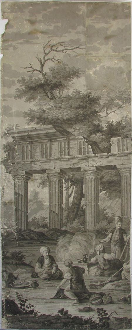 Holly Alderman, Dufour Grisaille Wallpaper Panorama, 1815, Panel J (of 16) 74 in. h