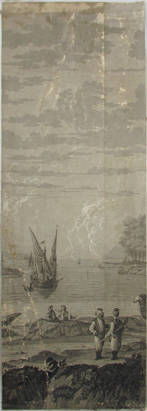 Holly Alderman, Dufour Grisaille Wallpaper Panorama, 1815, Panel N (of 16) 74 in. h