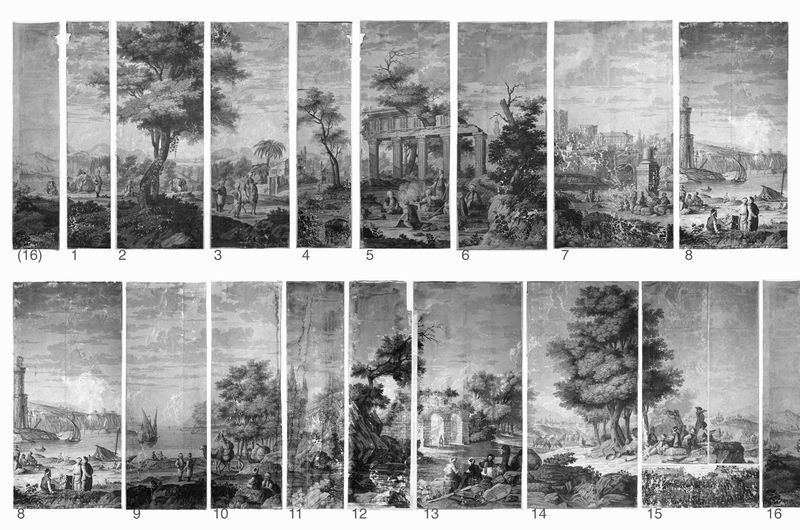 Dufour original panels 1815 Landscapes of Antiquity, Holly Alderman exclusive 2015