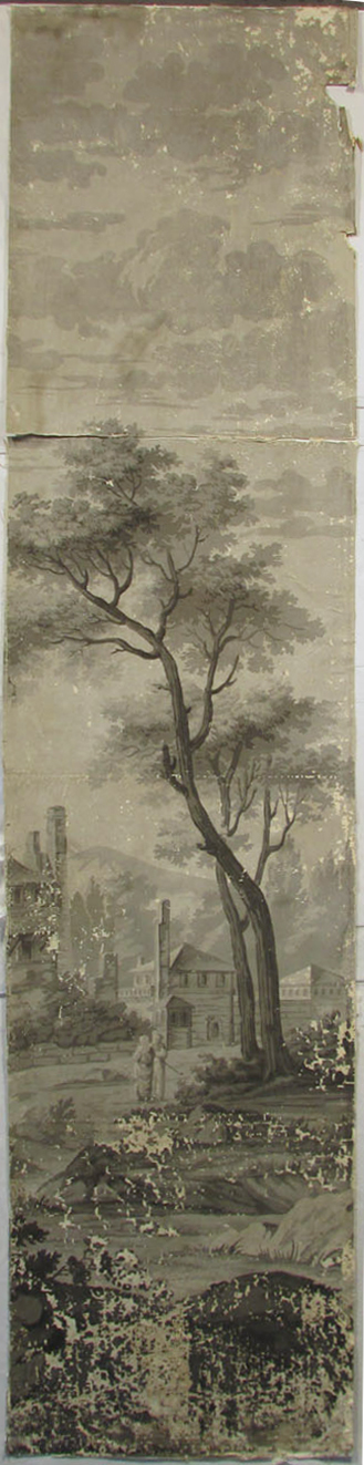 Holly Alderman, Dufour Grisaille Wallpaper Panorama, 1815, Panel I (of 16) 74 in. h