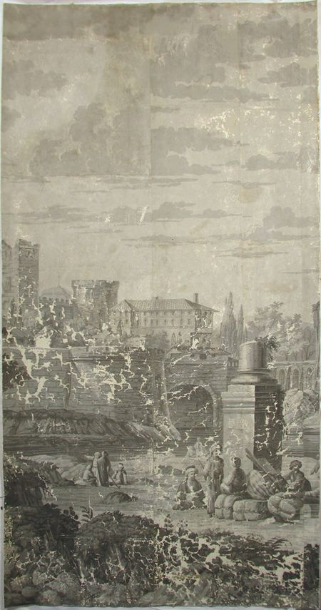 Holly Alderman, Dufour Grisaille Wallpaper Panorama, 1815, Panel L (of 16) 74 in. h