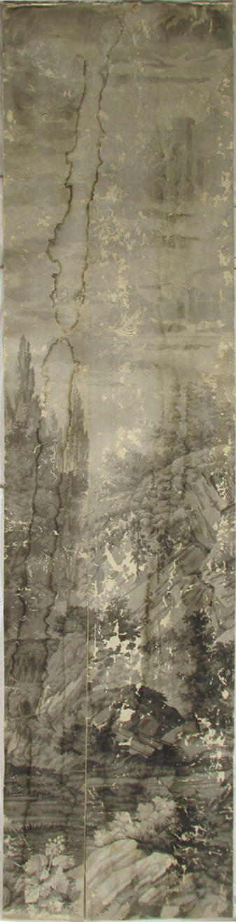 Holly Alderman, Dufour Grisaille Wallpaper Panorama, 1815, Panel P (of 16) 74 in. h