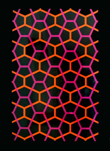Holly Alderman Symmetry Silkscreen Prints collection, 22x30 inches, Design Science Studio Symmetry Portfolio for Carpenter Center for Visual Arts, Harvard,  orange & pink on black