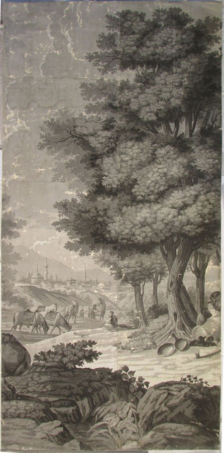 Holly Alderman, Dufour Grisaille Wallpaper Panorama, 1815, Panel C (of 16) 74 in. h