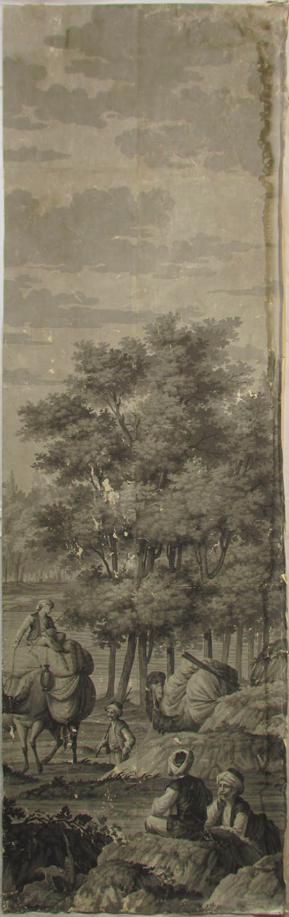 Holly Alderman, Dufour Grisaille Wallpaper Panorama, 1815, Panel O (of 16) 74 in. h